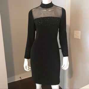 Black Dress Sheer L/S 4 Oleg Cassini Vintage